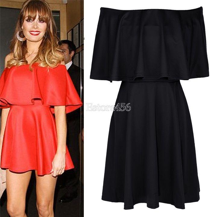 Ladies Ruffle Frill Off The Shoulder Womens Bodycon Short Mini Dress | eBay