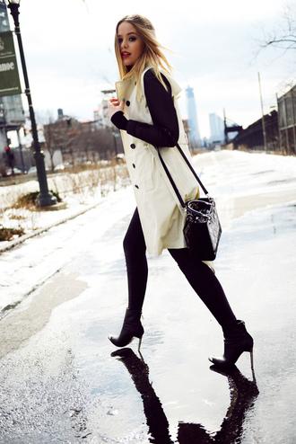 kayture coat shoes pants jewels bag shirt two tones two fabrics black and white coat