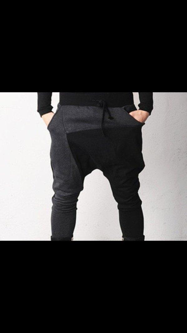 pants black grey geo shaped drop crotch harem pants sweatpants unisex?