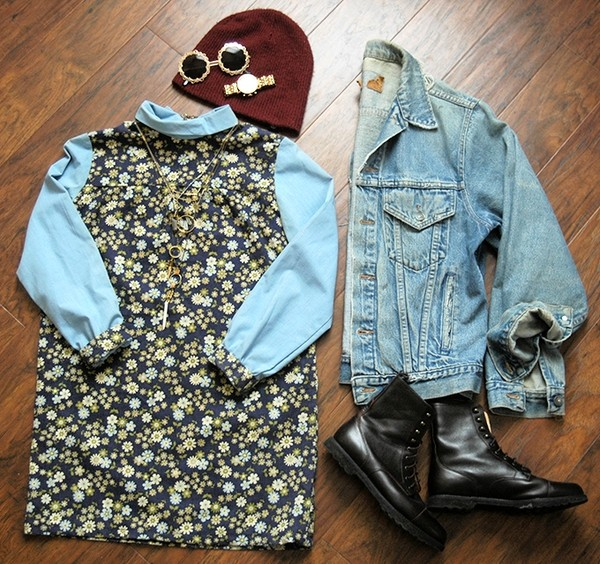 orchid grey dress jacket shoes hat sunglasses jewels