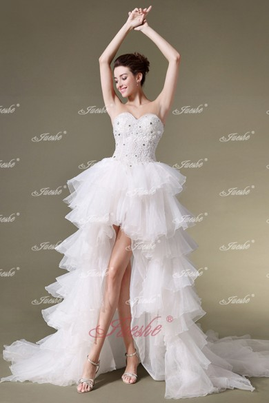 Unusual Strapless Sweetheart High-low Tiered Organza Wedding Dress with Chapel Train JSWD0215 -JuesheBridal