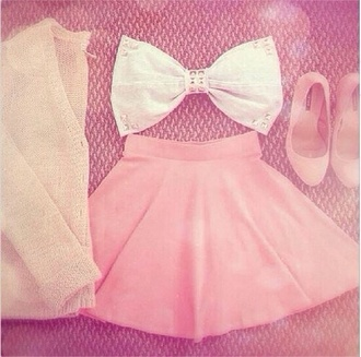 blouse top bow bandeau cardigan pink skirt white bow top
