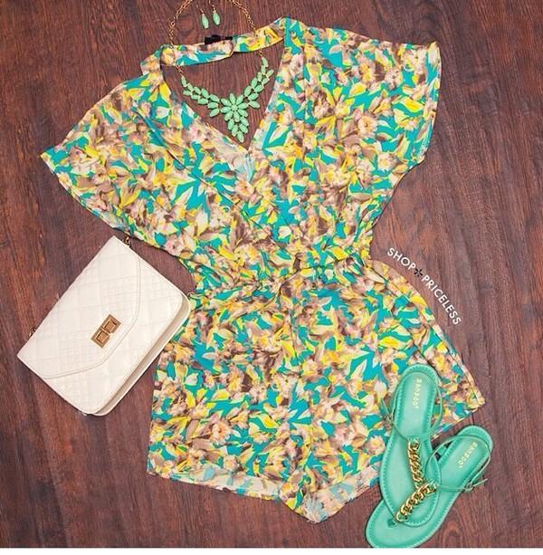 romper floral romper turquoise turquoise romper jumpsuit jewels bag shoes
