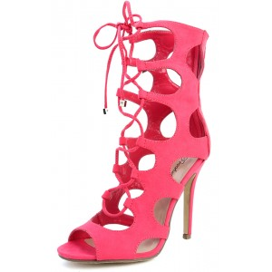 Breckelle's Roma-21 Pink Lemonade Lace Up Cut Out Gladiator Heels and Shop Shoes at MakeMeChic.com