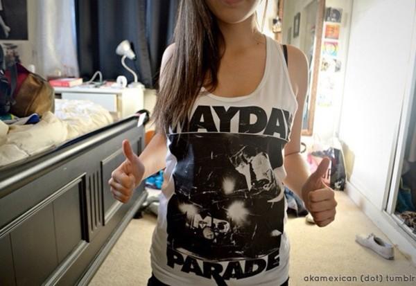 shirt band merch mayday parade grey tank top
