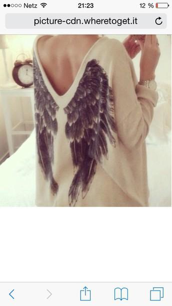 sweater beige cream/beige angel wings sweatshirt blouse