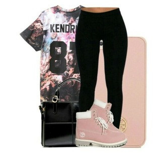leggings black black leggings black milk timberlands outfit polyvore kendrick lamar t-shirt