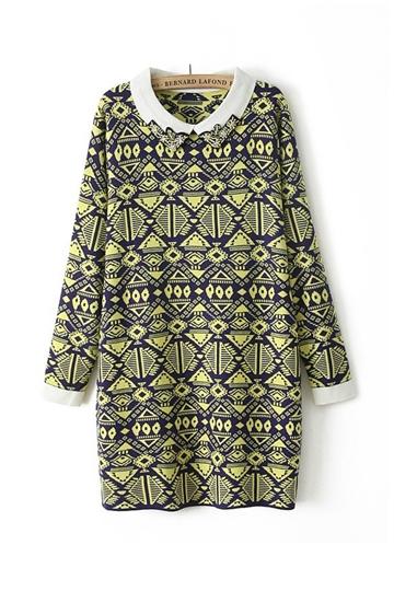 Geometric Patterns Printed Long Sweater [FKBJ10351]- US$39.99 - PersunMall.com