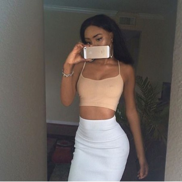 Top Tan Top, White Skirt, Skirt, Bracelets, Outfit, Hot, Style, Sexy, Brown, Light -7623