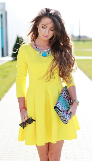 Dress Yellow Dress Fashion Blogger Spring Outfits