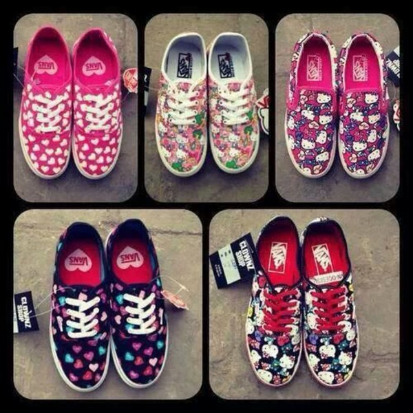 shoes floral hello kitty vans