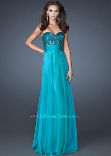 Peacock Long Strapless Empire Ruched Sequin Bust Chiffon Gown [La Femme 18584 Peacock] - $178.00 : Prom Dresses 2014 Sale, 70% off Dresses for Prom