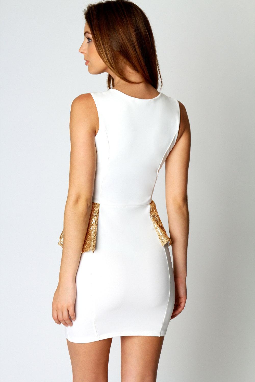 Gorgeous Sequin Trim White Peplum Cocktail Evening Party Mini Dress New | eBay