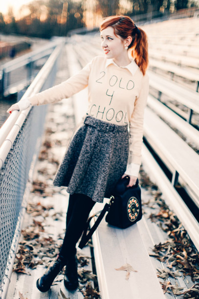 the clothes blogger grey skirt black bag quote on it jumper skater skirt blouse sweater skirt tights shoes bag