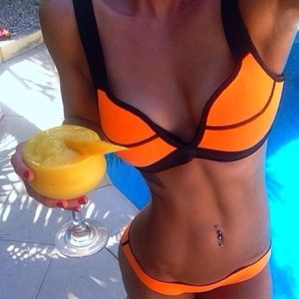 sweater orange bikini