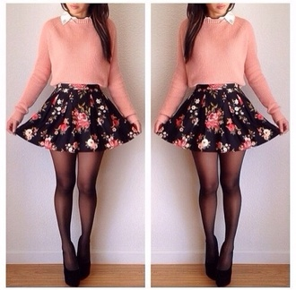 skirt floral skirt cute sweater pink sweater dress flowers short hispter swag girl girly outfit pretty vintage pink peach shirt cool girl style skater skirt floral top clothes style white collar pastel classy oufit tights black heels blouse hat shorts make-up pink jumper