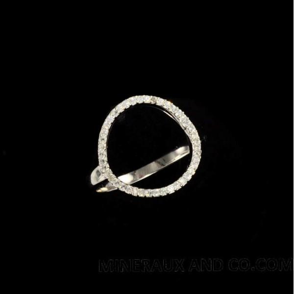 bague cercle argent et zirconiums sertis