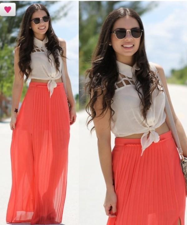 skirt maxi skirt coral chiffon lovely t-shirt