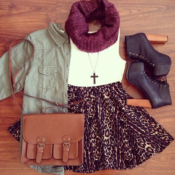 skirt leopard print high waisted jacket scarf shoes cheetah high waisted skirt leopard print burgundy leopord leopard print bag vintage cute dress girly tumblr animal print high heels brown leather heels booties fall outfits fall outfits autumn/winter brown platform chic green coat