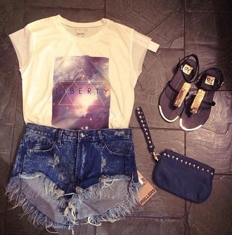 t-shirt rollers cut off shorts high waisted shorts white demin galaxy print short sleeve sandals hipster high waisted studded clutch stars shorts shoes cool liberty