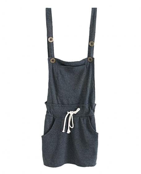 Buttoned Large-pocket Drawstring Playsuit | BlackFive