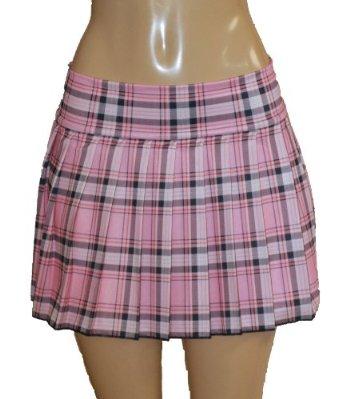 Amazon.com: Plus Size Schoolgirl Tartan Plaid Pleated Mini Skirt Pink Stretch: Clothing