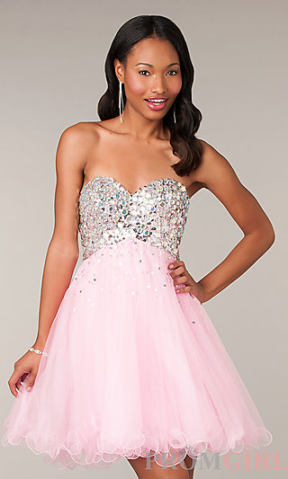 Prom Dresses, Celebrity Dresses, Sexy Evening Gowns - PromGirl: Alyce Short Strapless Prom Dress