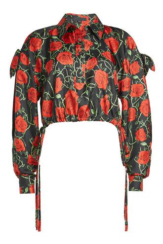 blouse cropped rose print silk top