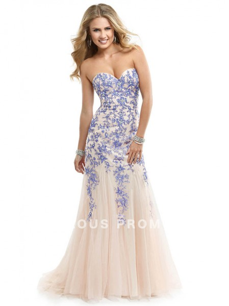 Trumpet / Mermaid Sweetheart  Beading  Sleeveless Floor-length Tulle  Prom Dresses / Evening Dresses  - FabulousPromGirl.com