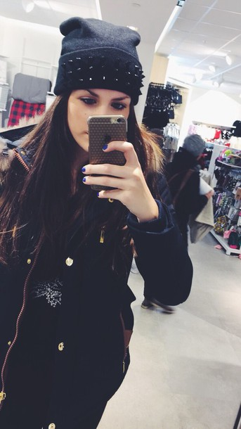 hat black hoodie studs studded beanie beanie love culture love is in the air uhm girly wish brunette black studs