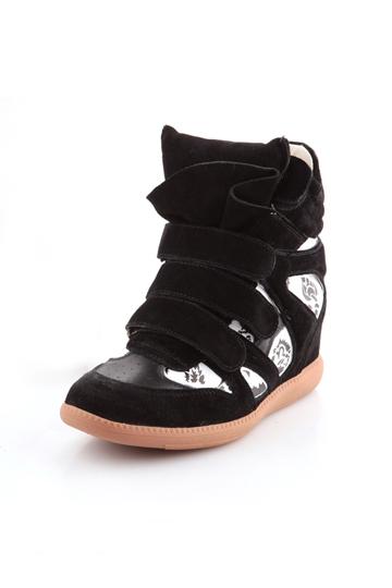 Black and White High-Top Hidden Wedge Sneaker [FABI1485]- US$64.99 - PersunMall.com