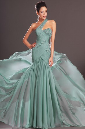 Green One Shoulder Floor Length Chiffon Trumpet Mermaid Prom Dress With Pleating Oet0185