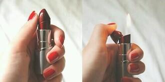 jewels lipstick lighter lighter red nail polish make-up lipstick dope home accessory