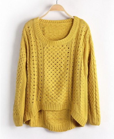 Yellow Jumpers with Cut Out Design and High Low Hem