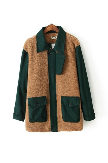 Color Contast Pockets Front Coat [FEBK0490]- US$ 49.99 - PersunMall.com