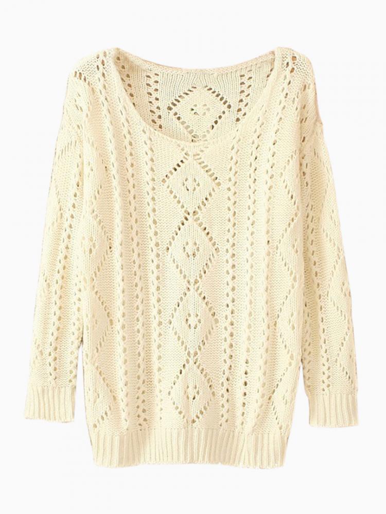 Beige Light Knit Jumper with Cut Out Detail | Choies