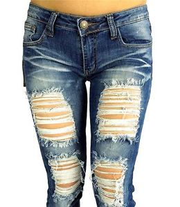 New Machine Jeans Destroyed Ripped Distressed Women Skinny Slim Blue Denim Jeans | eBay