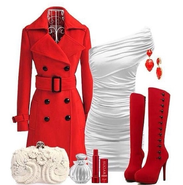 coat dress jewels bag shoes