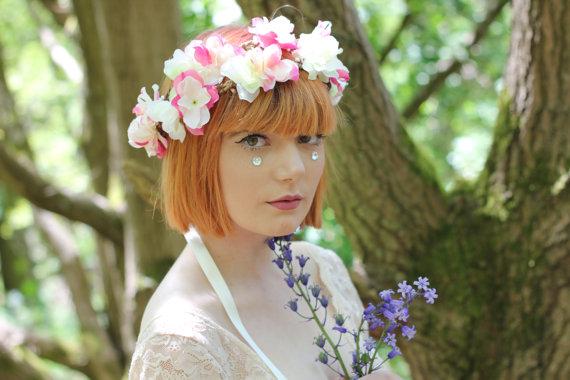 Love hairband rose wreath wedding headpiece headband by rougepony