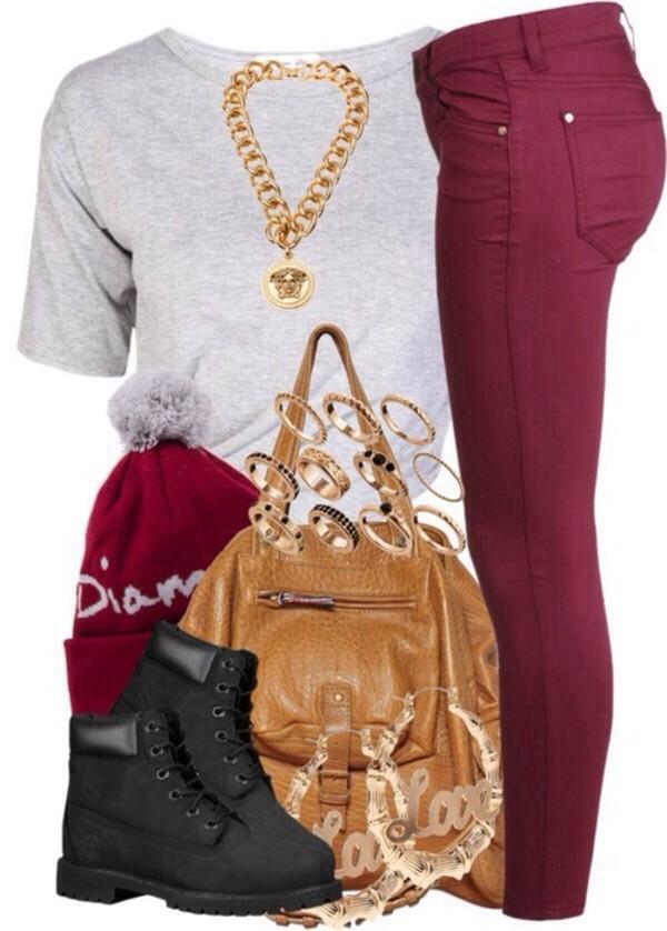 t-shirt jeans hat bag shoes jewels