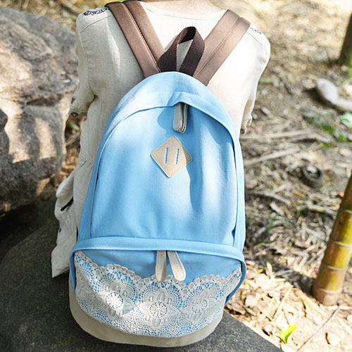 Fresh Sunmer Blue Canvas Lace Backpack on Luulla