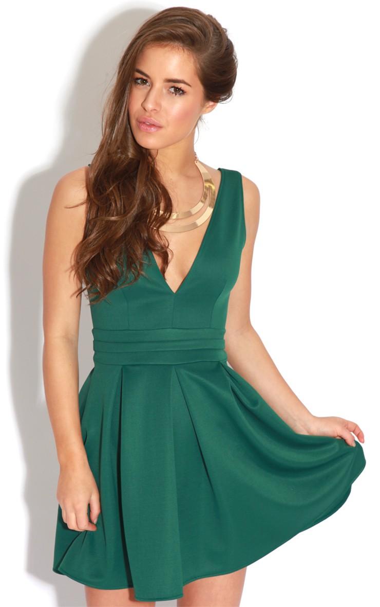 Adolpha Emerald Green Pleated Skater Dress dress - skater - prettylittlething.com | PrettyLittleThing.com