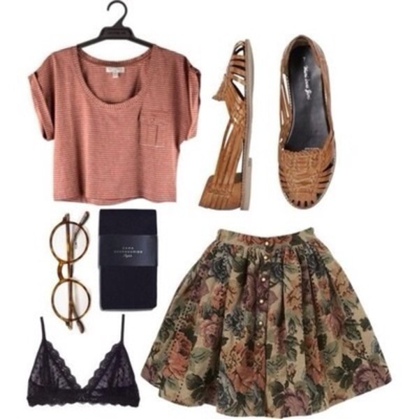 skirt shoes vintage hipster cute fisherman's shoe pretty flats slip on shoes slip on shoes blouse shirt underwear sunglasses floral t-shirt cropped tee bralette glasses boho flowers print