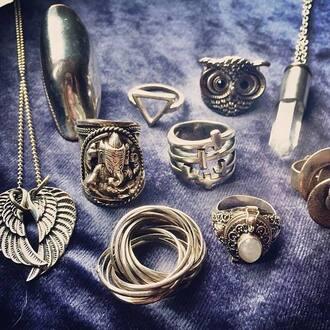 jewels ring cross owl jewelry boho chic boho jewelry silver silver jewelry silver ring grunge grunge jewelry le happy luanna perez bohemian triangle