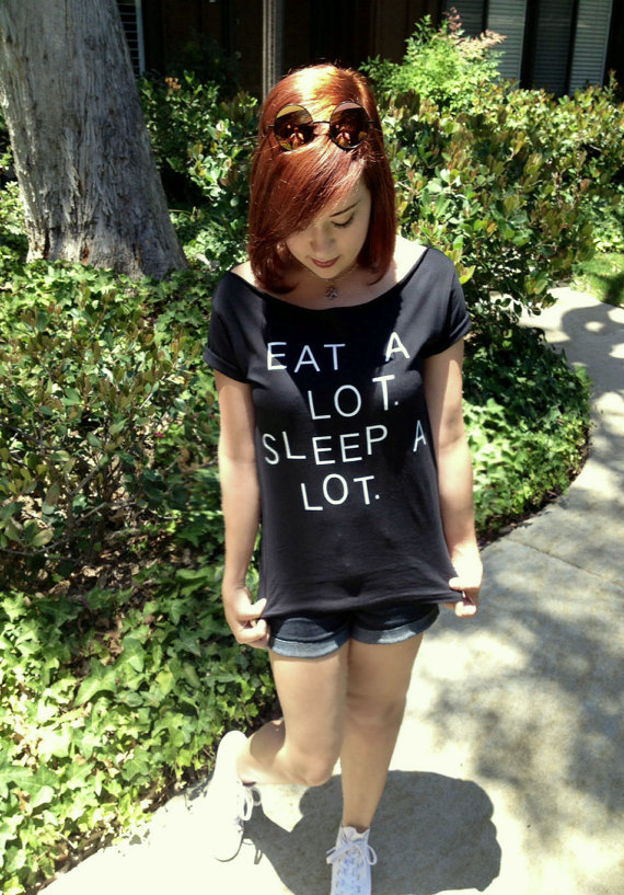 Eat a lot sleep a lot shirt Tumblr clothing Funny by FavoriTee