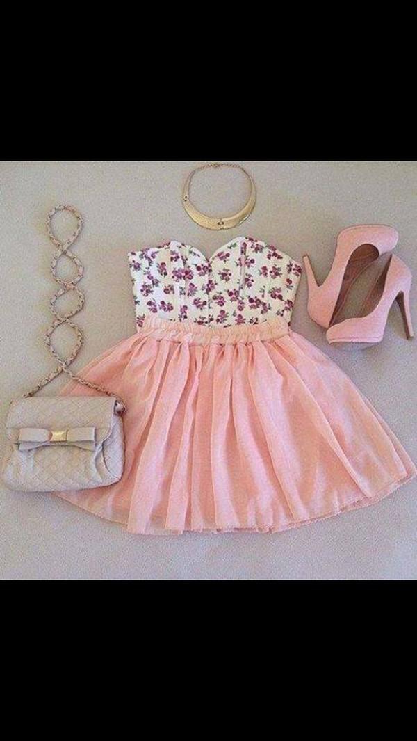 dress pink dress high heels bag shirt skirt jewels