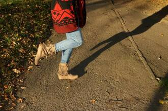 shoes jeans cute moccasins shadow red sweater