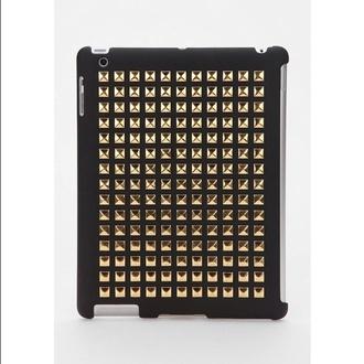 bag ipad ipad 4 black studs studded phone cover studded iphone case gold gold studs black and gold