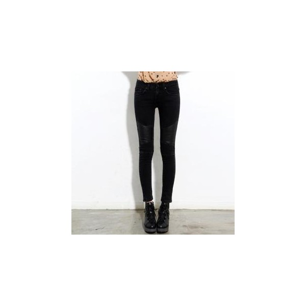 Faux-Leather Patch Skinny Jeans - Benggirl - Polyvore