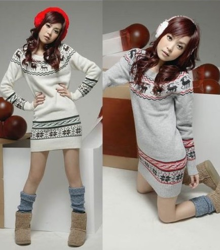 New XMAS Fashion Womens Knit Sweater Dress Jumper Top Snowflake Deer Pullover from yourfashionsandcute on Storenvy